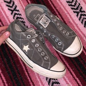 Converse One Star Grey Star Slip On Sneakers